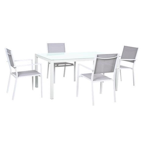 Conjunto de muebles de exterior salónica de aluminio para 4 comensales