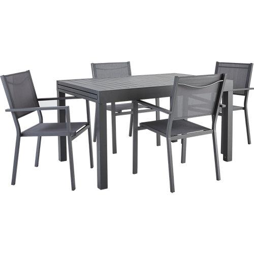 Conjunto de muebles de exterior lisbon extensible de aluminio para 4 comensales