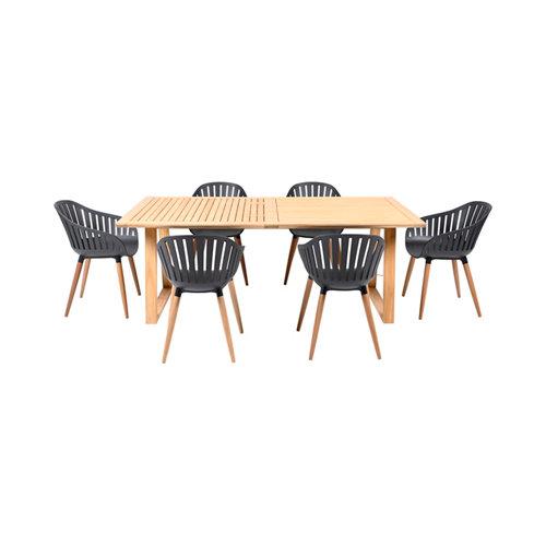 Conjunto de muebles de exterior tuno de madera y plástico gris para 6 comensales