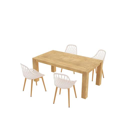 Conjunto de muebles de exterior australia-telde de madera para 4 comensales