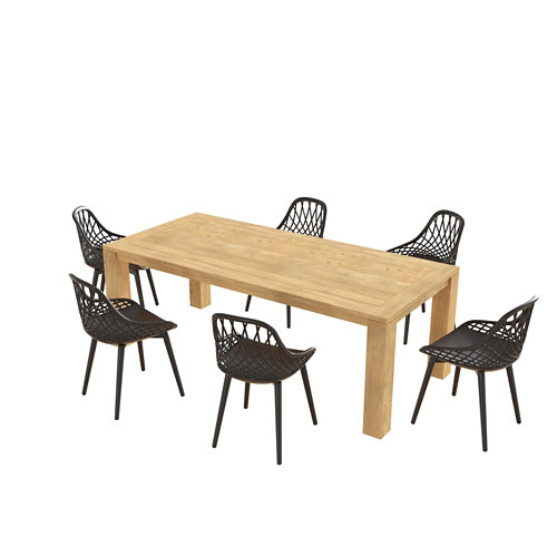 Conjunto de muebles de exterior australia-telde de madera para 6 comensales