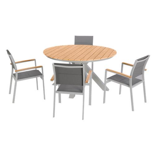 Conjunto de muebles de exterior san diego de aluminio para 4 comensales
