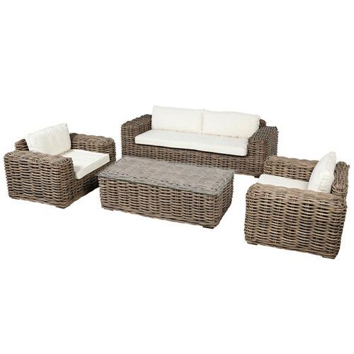 Conjunto de muebles de porche ayamonte de ratán natural para 5 comensales