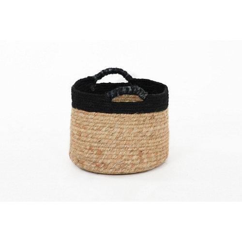 Cesta de yute bicolor negro 28x28 cm