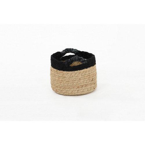 Basket yute bicolor negro 16x13 cm