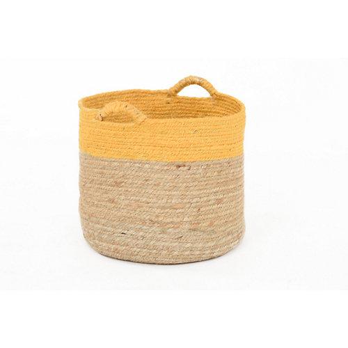 Basket yute bicolor mostaza 37x30 cm