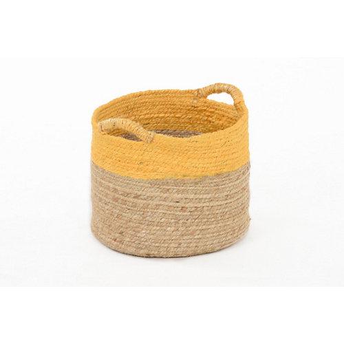 Basket yute bicolor mostaza 30x25 cm