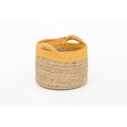 Basket yute bicolor mostaza 23x18 cm