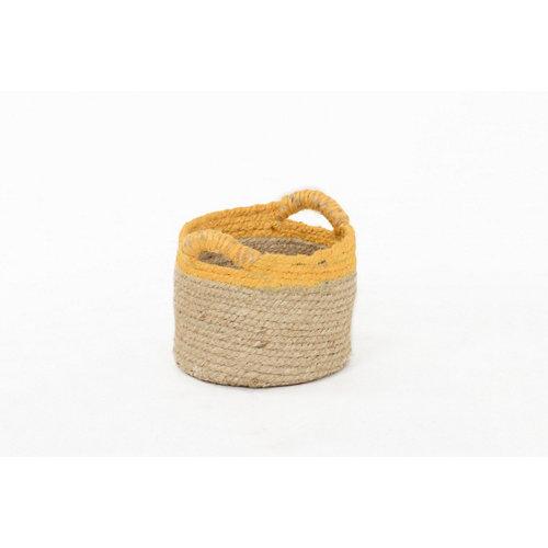 Basket yute bicolor mostaza 16x13 cm