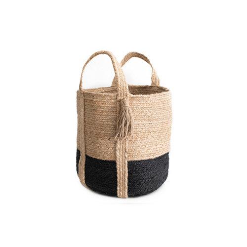 Basket yute natural black 50x40cm