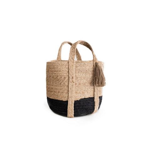 Basket yute natural black 40x30cm