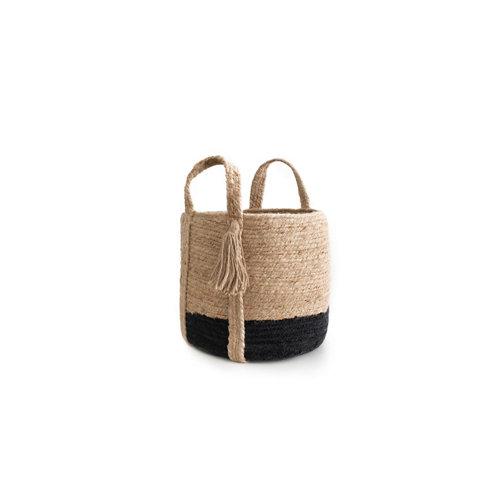 Basket yute natural black 30x30cm