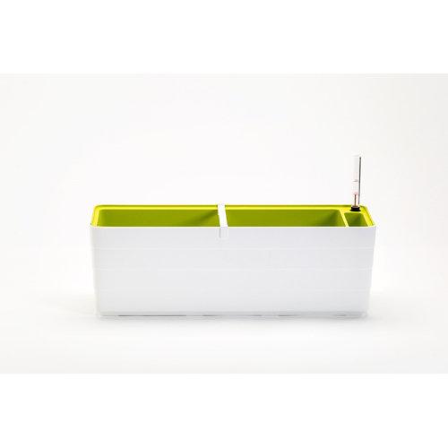 Jardinera de plástico con auto riego 59x19.5x19.7 cm blanco y verde