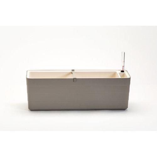 Jardinera de plástico con auto riego 59x19.5x19.7 cm beige y marfil