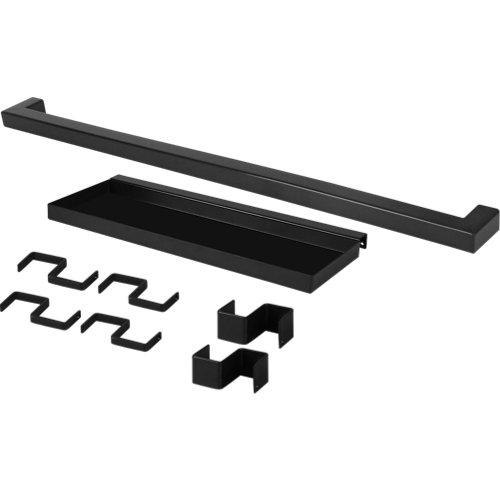 Set barra de cocina + estante delinia id acero gris 45 cm + 6 ganchos colgar