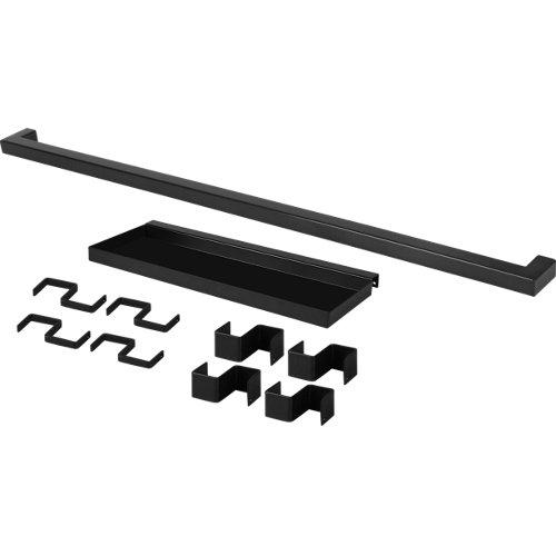 Set barra de cocina + estante delinia id acero gris 60 cm + 8 ganchos colgar