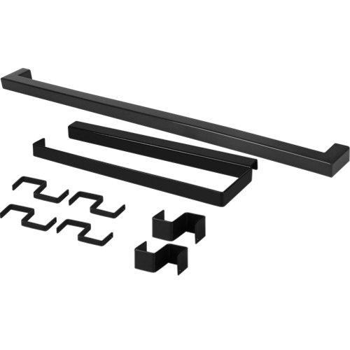 Set barra de cocina + portarrollo delinia id acero gris 45 cm + 6 ganchos colgar