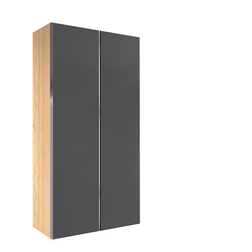 Armario spaceo home mallorca gris correderas interior roble 240x160x60cm
