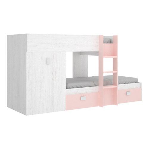 Cama tren serie beth con armario y 2 cajones blanco artic y rosa