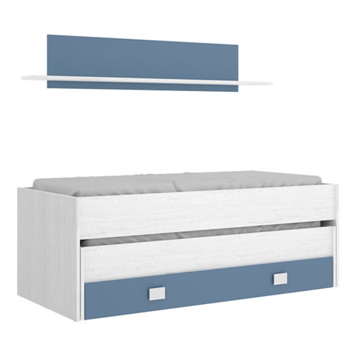 Cama compact serie enif 1 cajón y 1 estante blanco artic y azul