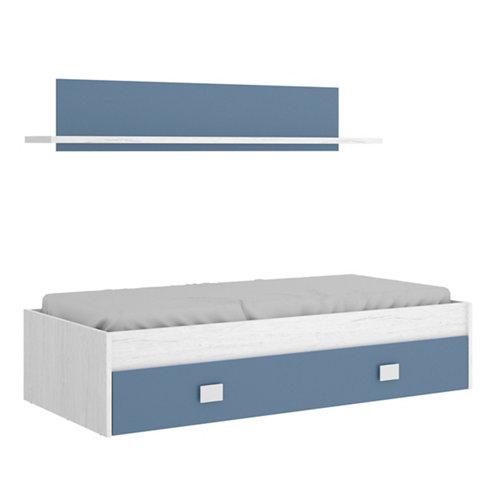 Cama compact serie iro 1 cajón y 1 estante blanco artic y azul