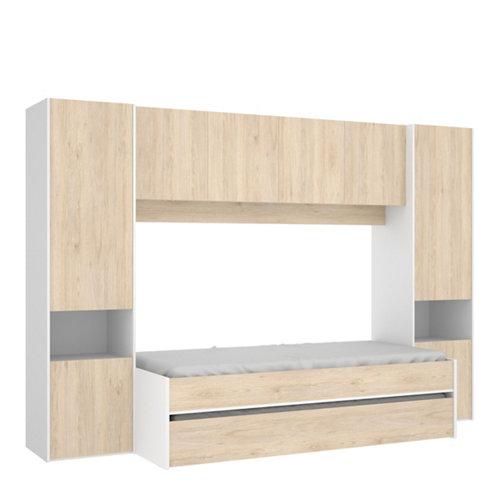 Cama doble serie elsie con armario y altillo blanco y gris