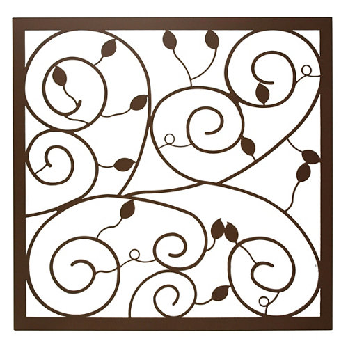 Reja ventana floral marrón 105x105 cm