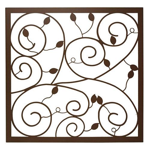 Reja ventana floral marrón 105x125 cm