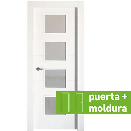 Conjunto de puerta con cristal lucerna plus blanco 72,5 cm derecha + tapetas
