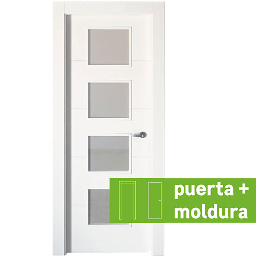 Conjunto de puerta con cristal lucerna plus blanco 92,5 cm izquierda + tapetas