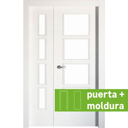 Conjunto de puerta doble con cristal lucerna plus 125cm (82+42) derecha + tapeta