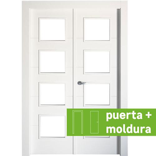 Conjunto de puerta doble con cristal lucerna plus 145cm (72+72) derecha + tapeta