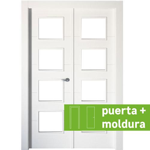 Conjunto de puerta doble con cristal lucerna plus 145cm (72+72) izda + tapetas