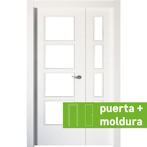 Conjunto de puerta doble con cristal lucerna plus 105cm (62+42) izda + tapetas
