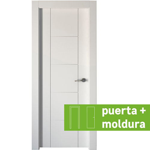 Conjunto de puerta noruega lacada blanco 82,5 cm izquierda + kit de tapetas
