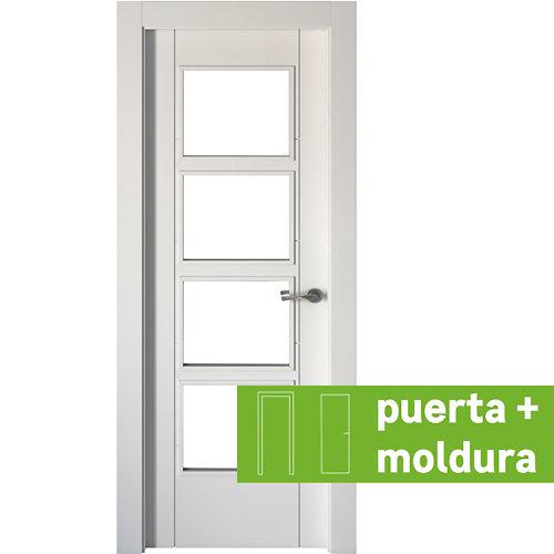 Conjunto de puerta con cristal noruega blanco 4v 72,5 cm izquierda + tapetas