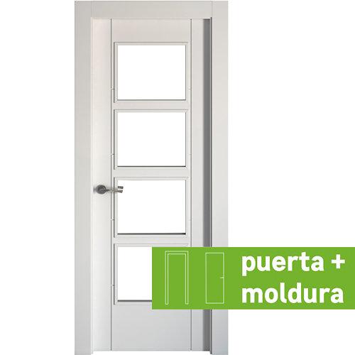 Conjunto de puerta con cristal noruega blanco 4v 82,5 cm derecha + tapetas