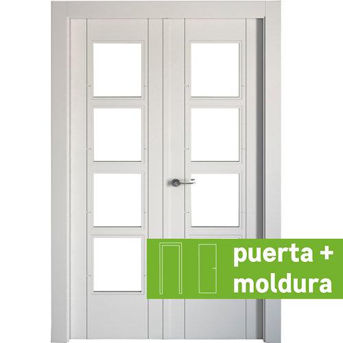 Conjunto de puerta doble cristal noruega blanco 145cm (72,5+72,5) dcha + tapetas