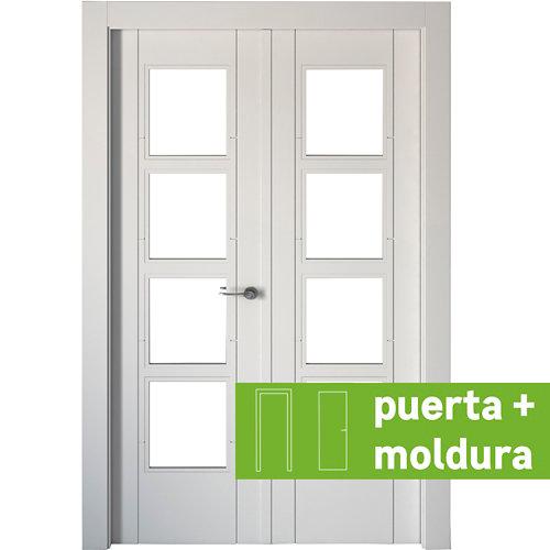 Conjunto de puerta doble cristal noruega blanco 145cm (72,5+72,5) izda + tapetas