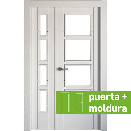 Conjunto de puerta doble cristal noruega blanco 105cm (42,5+62,5) dcha + tapetas