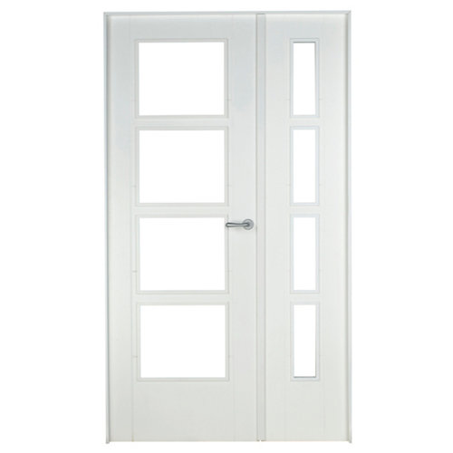 Conjunto de puerta doble cristal noruega blanco 115cm (42,5+72,5) izda + tapetas