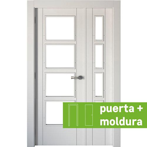 Conjunto de puerta doble cristal noruega blanco 125cm (42,5+82,5) izda + tapetas