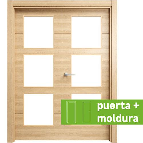Conjunto de puerta doble cristal berna roble miel 145cm (72 +72) izda + tapetas