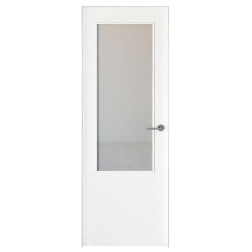 Conjunto puerta con cristal bari lacada blanca de 82,5 izquierda + tapetas