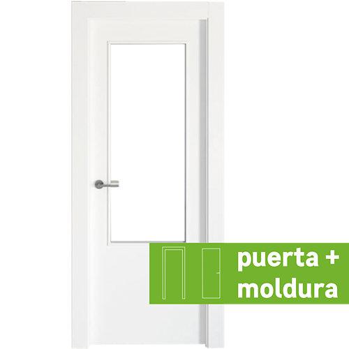Conjunto puerta con cristal bari lacada blanca de 92,5 derecha + kit de tapetas