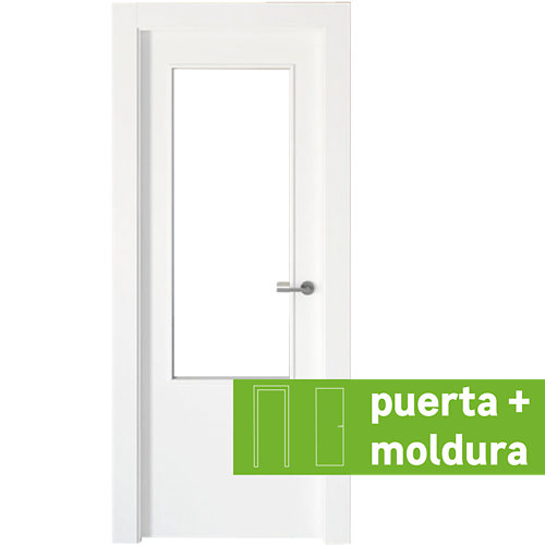 Conjunto puerta con cristal bari lacada blanca de 92,5 izquierda + tapetas