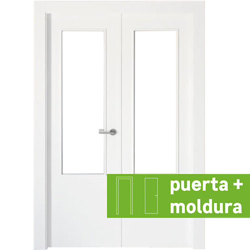 Conjunto puerta doble cristal bari blanca de 125 cm (62,5 + 62,5) izq + tapetas