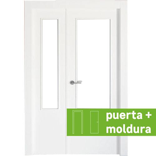 Conjunto puerta doble cristal bari blanca de 105 cm (62,5 + 42,5) dcha + tapetas