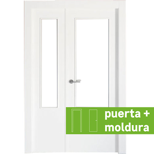 Conjunto puerta doble cristal bari blanca de 115 cm (72,5 + 42,5) dcha + tapetas
