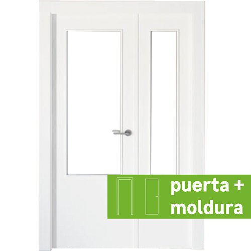 Conjunto puerta doble cristal bari blanca de 115 cm (72,5 + 42,5) izq + tapetas